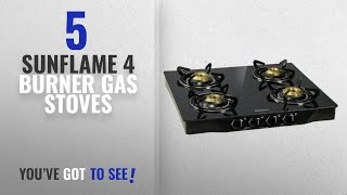 Top 10 Sunflame 4 Burner Gas Stoves [2018]: Sunflame Pearl 4 Burner Glass Top Gas Stove (Black)