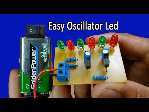 How to make easy simple oscillator LED circuit using two transistors BC547