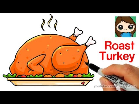 How To Draw A Roast Turkey Dinner Easy Realistic Youtube