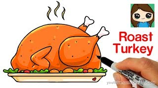 How to Draw a Roast Turkey Dinner Easy | Realistic