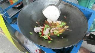 Thai Basil Squid with Fried Egg - Thai Recipes - Thai Street Food