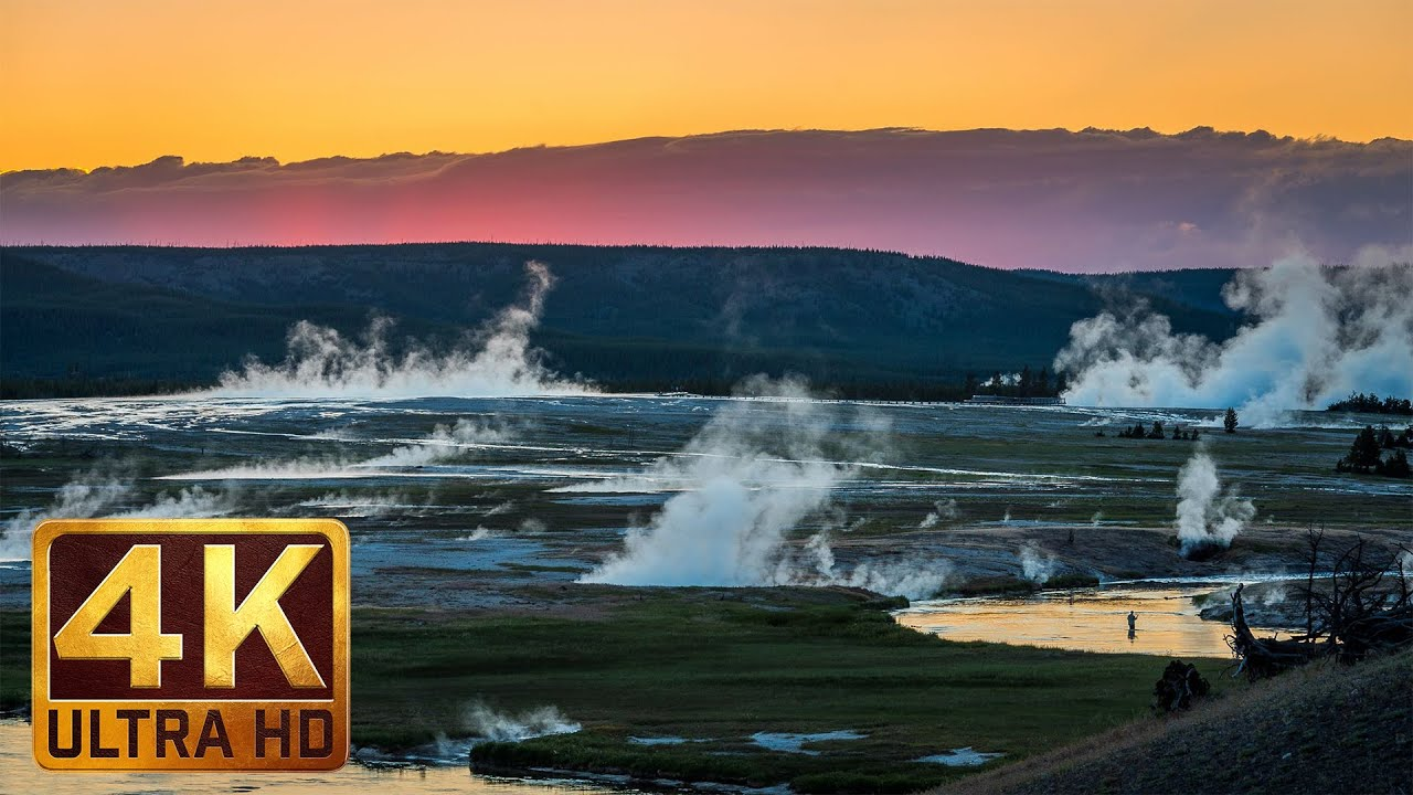 4k Nature Relaxation Video Yellowstone National Park In Summer