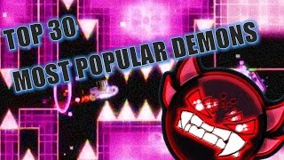 30 most popular demon levels by view counts on verification geometry dash