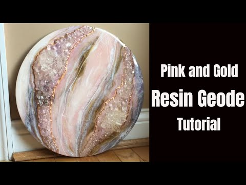 Pink and Gold Resin Geode No Barriers!! // Abstract Resin Art HOW TO