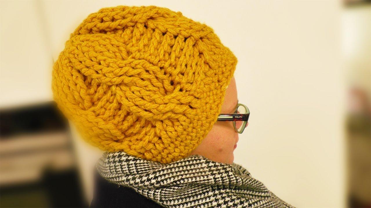 Mütze Häklen Mit Zopfmuster Warme Trend Mütze Für Den Winter