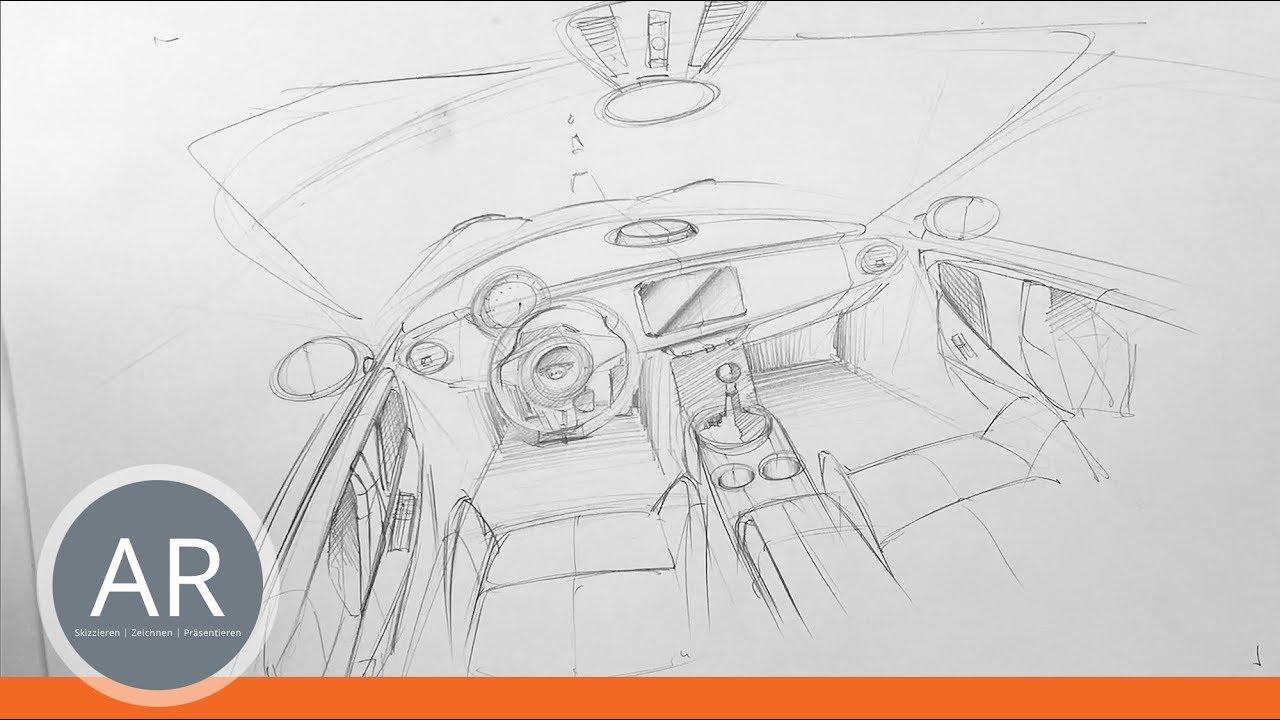 Car-Interieur-Skizzen. Autos zeichnen lernen. Bewerbungsmappe ...