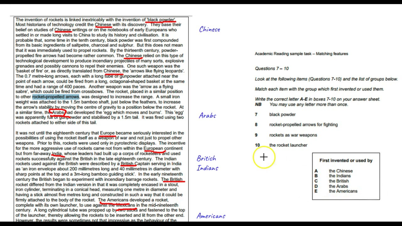 Lesson 10: IELTS Reading Question Types: Matching Features