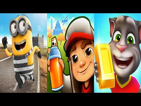 Despicable Me Minion Rush - Minion Break VS Subway Surfers Washington DC VS Talking Tom Gold Run