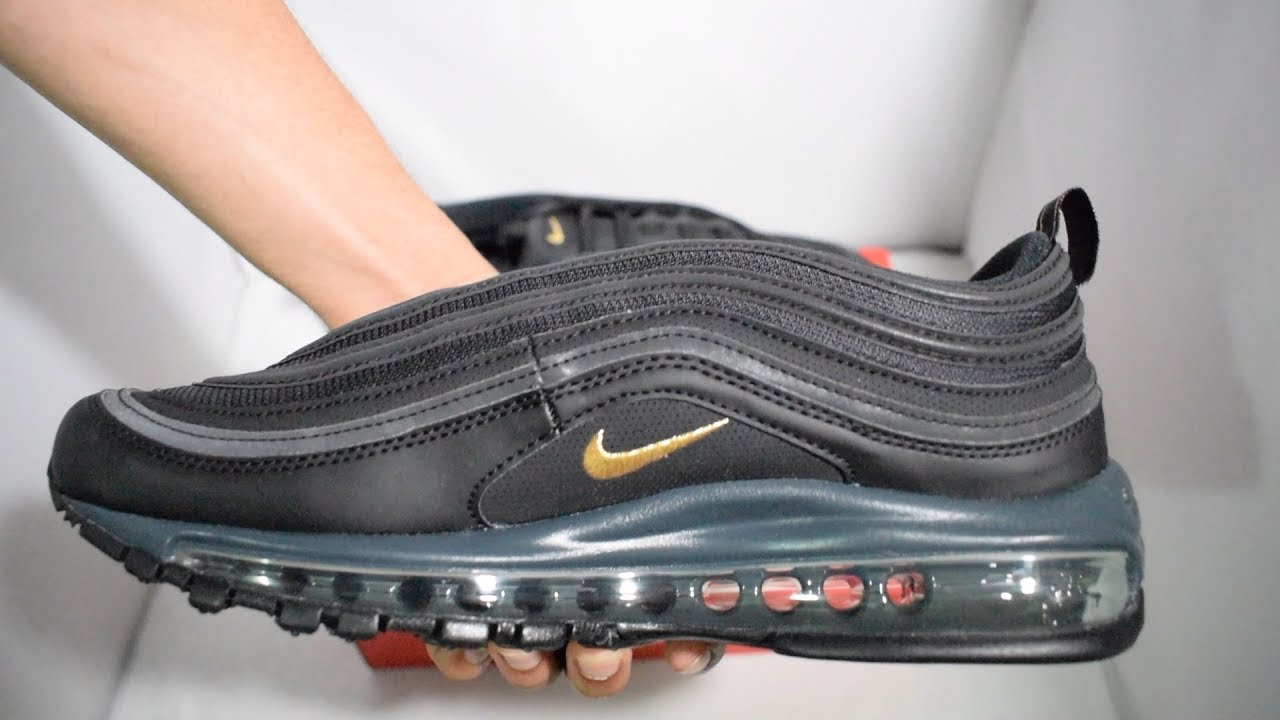 buy online 9bab4 868db Nike Air Max 97 Black   Gold Unboxing