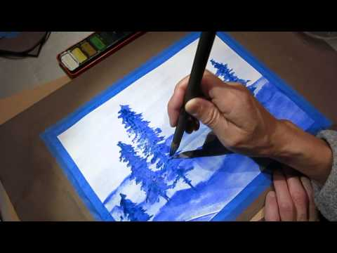 Watercolor painting monochrome ASMR