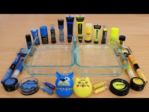 Blue vs Yellow - Mixing Makeup Eyeshadow Into Slime Special Series 179 Satisfying Slime Video