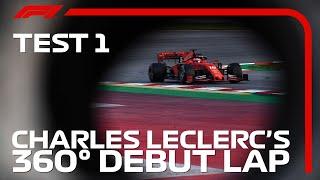 Charles Leclerc's Debut in his Ferrari (360 Video) | F1 Testing 2019