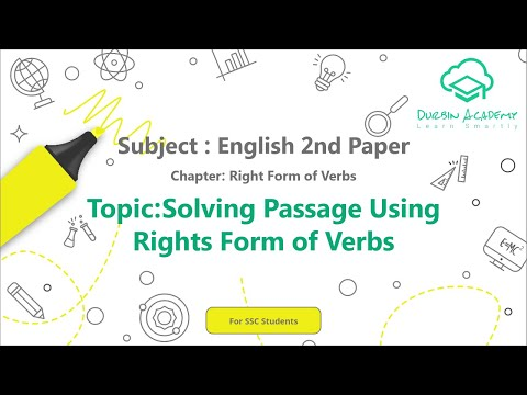 17  English 2nd Paper SSC   Right Form of Verbs   Solving Passage Using Right Form of Verbs