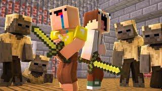 Два Нуба против Зомби в Майнкрафт — Нуб попал в Испытания для нуба