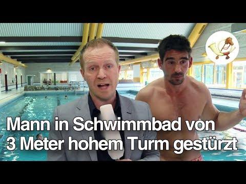 Mann in Schwimmbad von 3 Meter hohem Turm gestürzt [Postillon24]