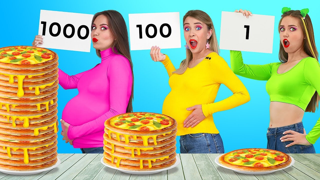 NO HANDS VS 2 HANDS VS 1 HAND || 1000 Layers Of Food Challenge!Try To Win For 24 HRS by 123 GO!FOOD