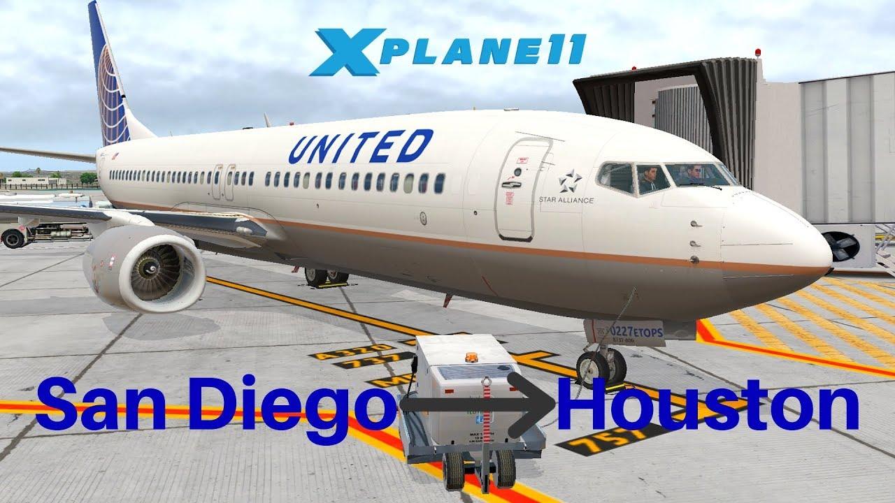 [X-Plane 11] United 2099   San Diego - Houston   Zibo 738   VATSIM