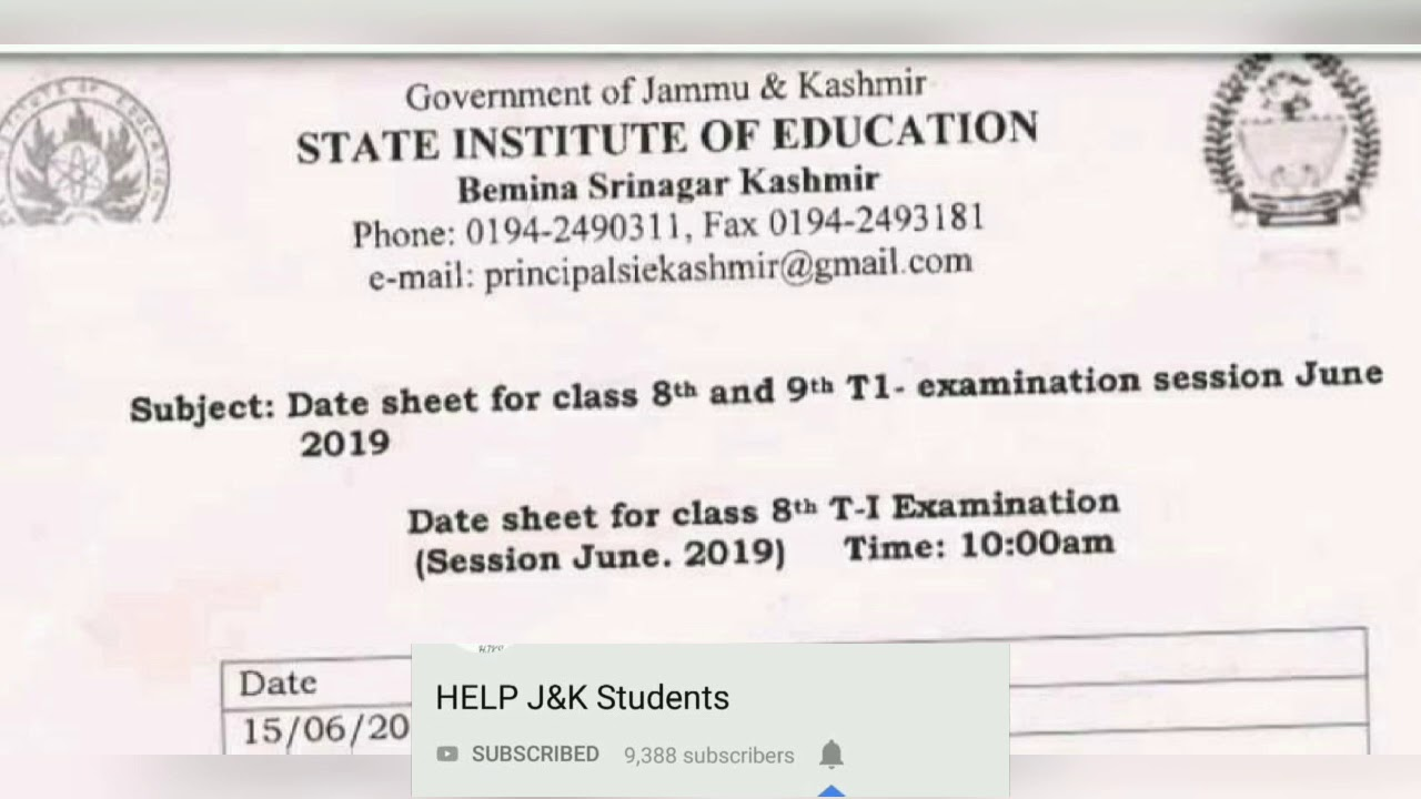 SIE Date Sheet for class 8th and 9th T1-examination session June 2019👇