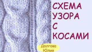 Вязание спицами. Схема узора с косами / жгутами   ///    knitting pattern