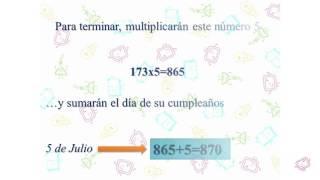 La fecha del cumpleaños. Matemagia (Divertiaula). Math Magic.