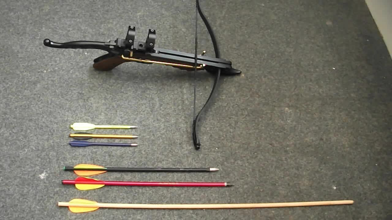 Pistol crossbow bolt test youtube for Crossbow fishing bolts