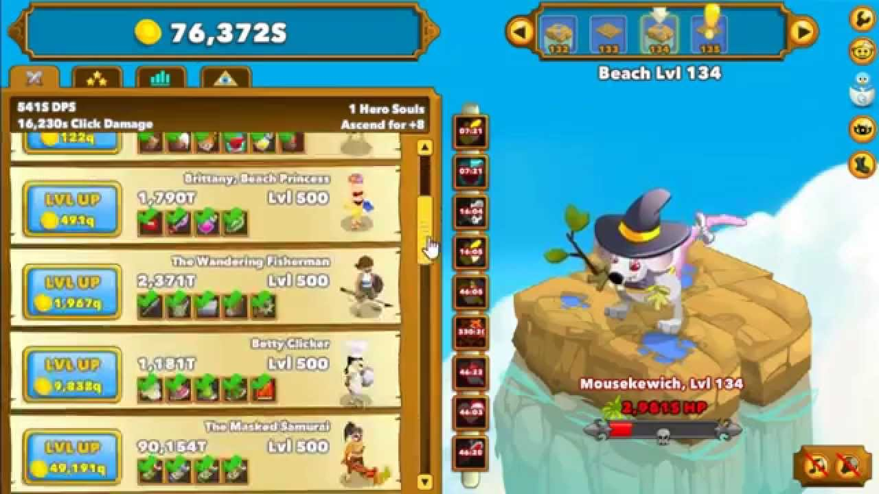 Clicker Heroes Gameplay First Ascension Level 100