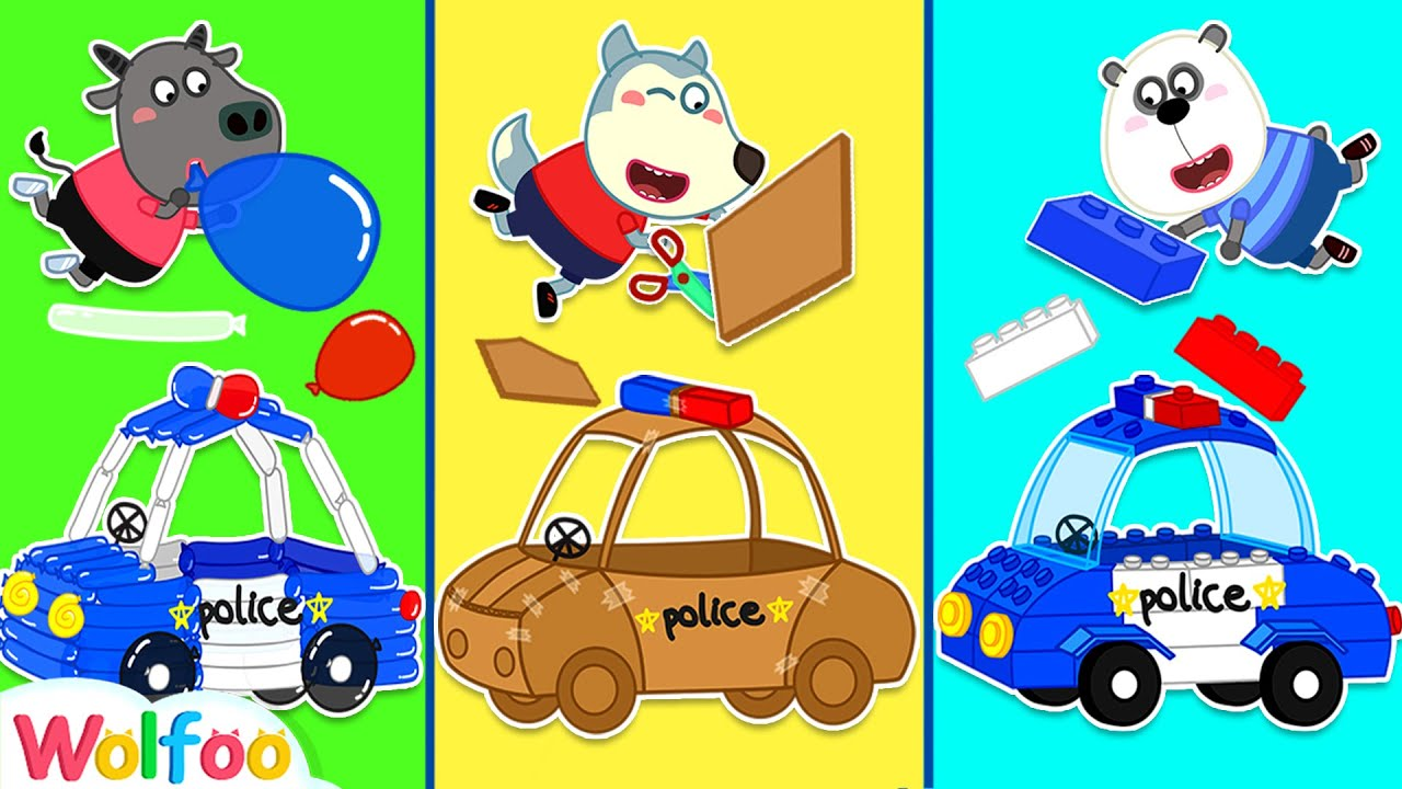 Wolfoo Makes Police Car from Balloons, Lego and Cardboard   Wolfoo Family Kids Cartoon