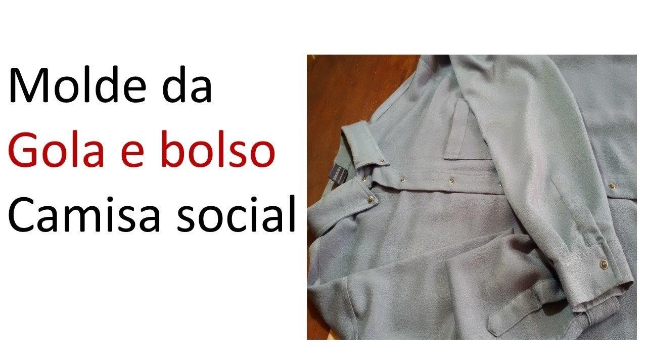 vídeo aula Molde da gola e do bolso camisa social DIY ( 3 parte final) e2df7ede6d764