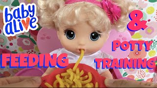 🍜 Baby Alive Snackin' Noodles Feeding & Potty Training With Skye! Using Baby Born Musical Potty!