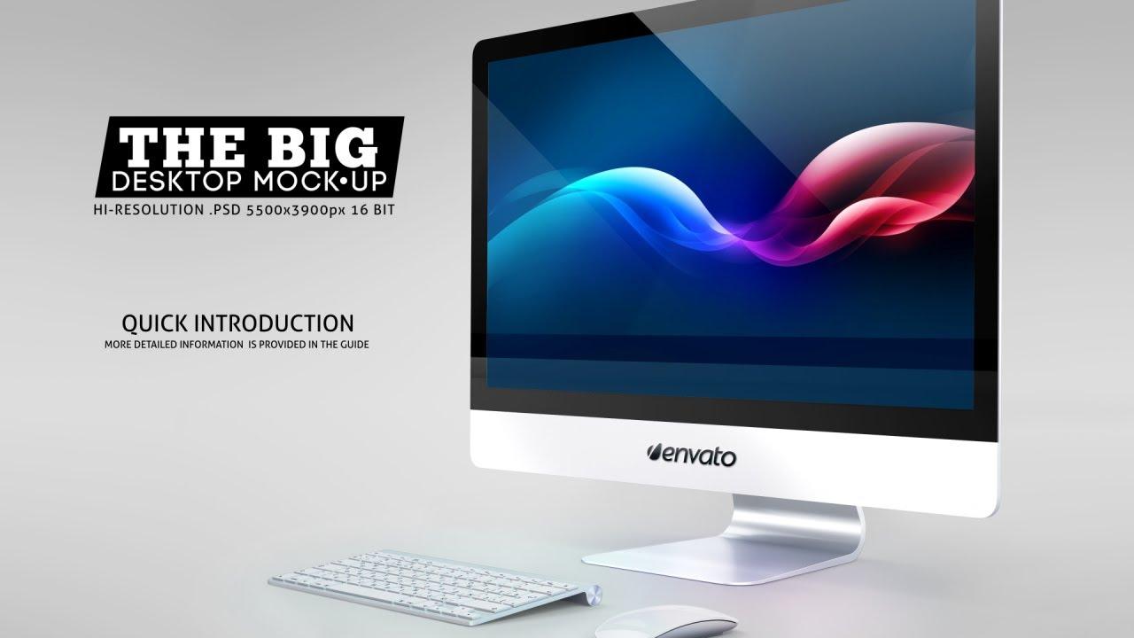 The Big Desktop Screen Mock Up Photoshop Video Tutorial Youtube