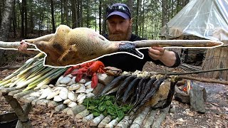 Catch and Cook GIANT Wild BIRD and Cattails! | 100% WILD Food SURVIVAL Challenge