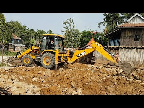 JCB Digger Working For Home Construction - JCB COLLECTING STONES - JCB VIDEO 2