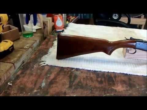 Fixing the gunstock on a Winchester Model 37 single shot shotgun