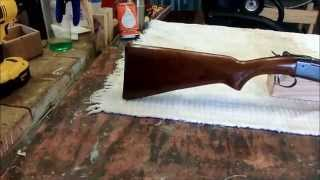 Fixing the gunstock on a Winchester Model 37 single shot shotgun