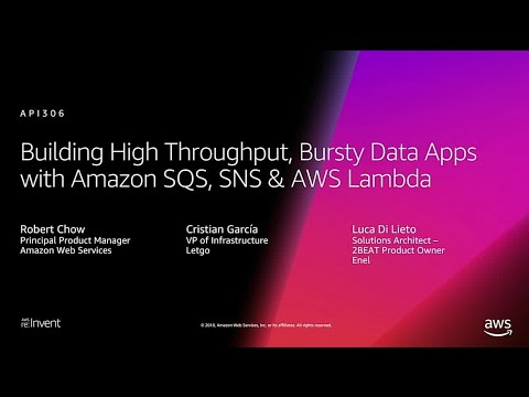 AWS re:Invent 2018: Build High-Throughput, Bursty Data Apps with Amazon SQS, SNS, & Lambda (API306)