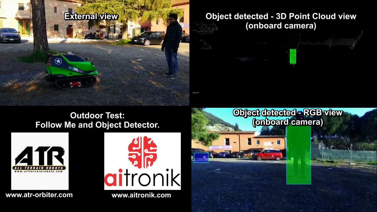 ATR-Orbiter Autonomous Outdoor Test: Follow Me and Object Detector.