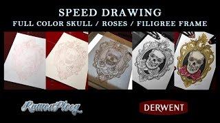 Speed Drawing Skull / Roses / Filigree frame