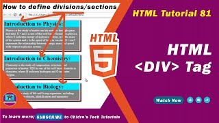 HTML video tutorial - 81 - html div tag