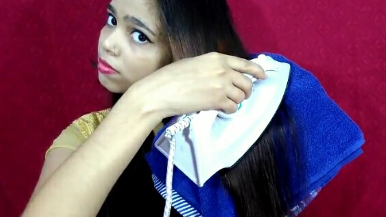 How to straighten your hair with cloth iron || Indian ...