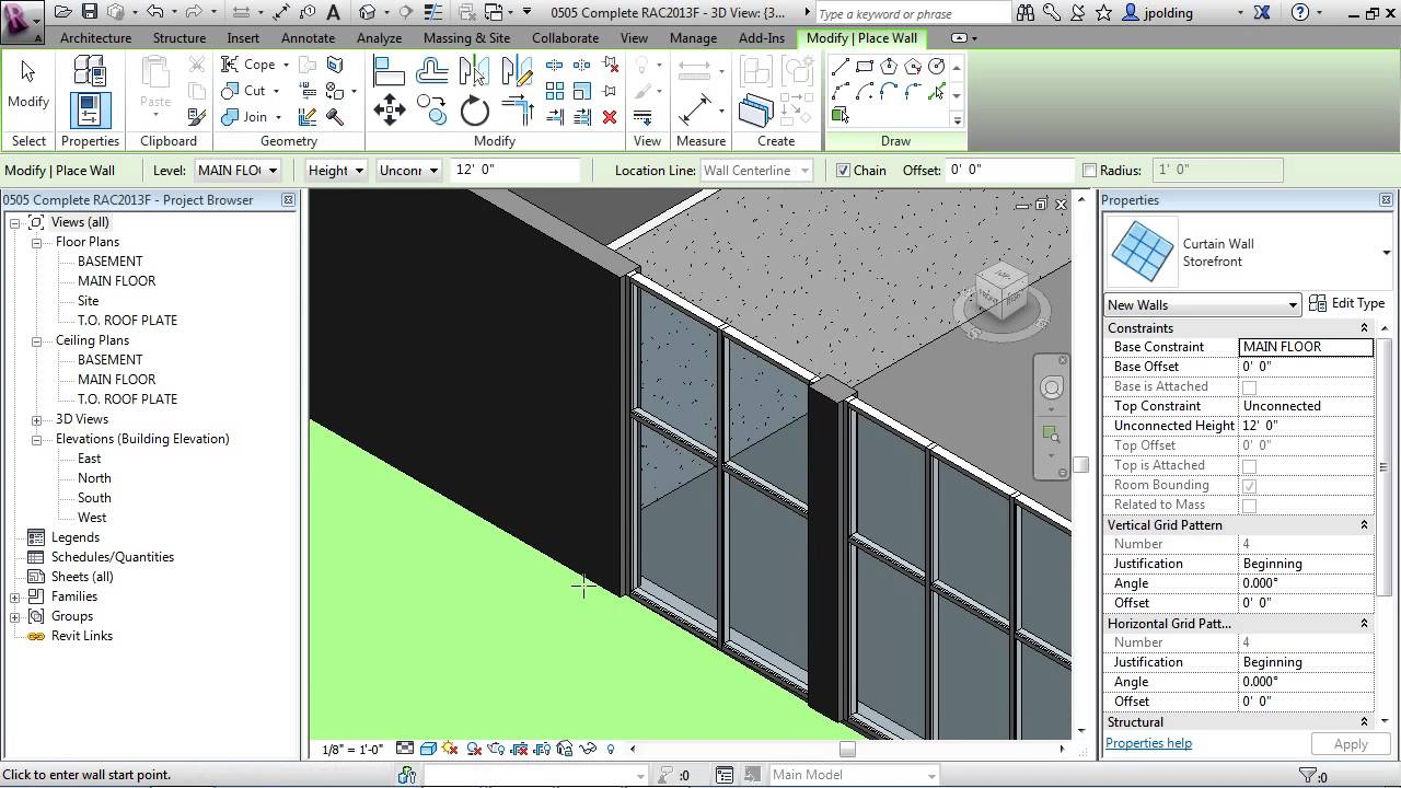 Edit Curtain Panel Revit