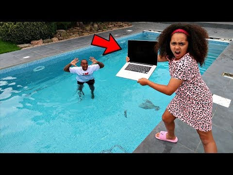 DADS MACBOOK PRO IN OUR SWIMMING POOL PRANK!!