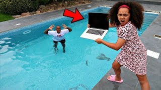 DAD'S MACBOOK PRO IN OUR SWIMMING POOL PRANK!! thumbnail