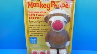 THE SOCK MONKEY POPPER SQUEEZABLE SOFT FOAM SHOOTER VIDEO TOY REVIEW