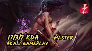 SKT T1 Faker (AKALI) vs AATROX  - 17/3/7 KDA MID GAMEPLAY - KR Ranked MASTER