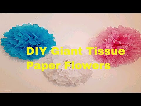 DIY How to Make GIANT Tissue Paper Flowers | DIY Wall Art | Tissue Flowers | Room Decor On A Budget