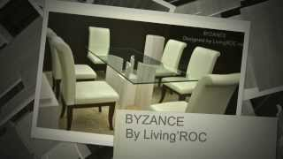Marble Travertine Dining Table Tempered Glass Byzance - Livingroc.net