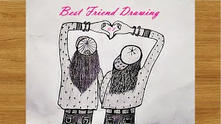 How to draw Best Friend Girls drawing   Easy step by step girls drawing pencil sketch tutorial