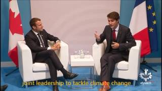 Macron Trudeau chat at G20 - English subtitles