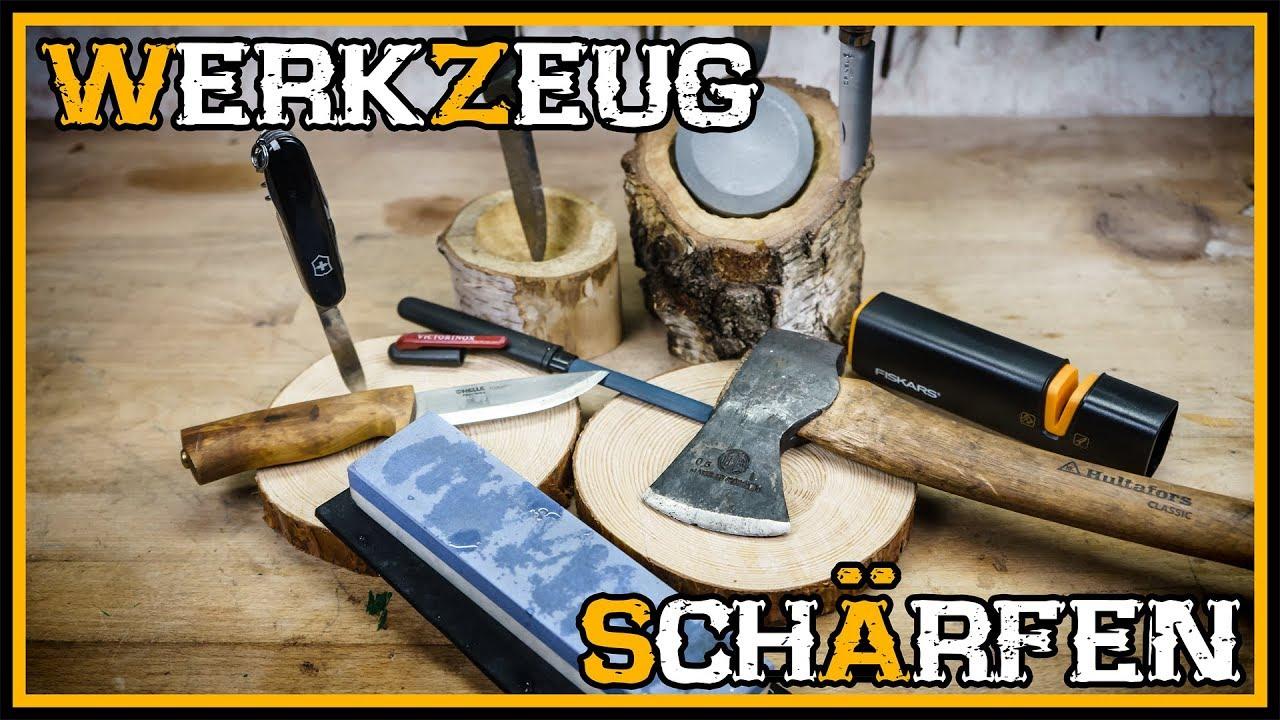 messer und beil / axt schärfen - outdoor bushcraft deutschland - youtube