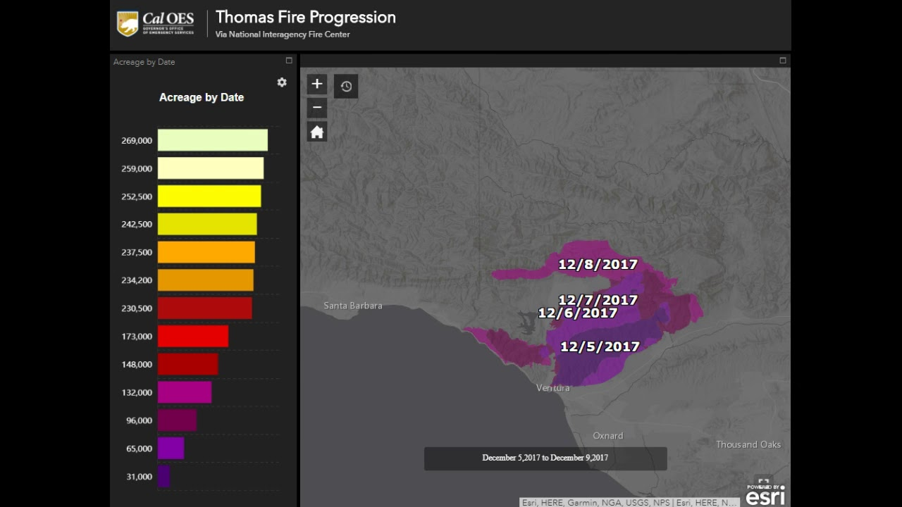 Cal Oes Fire Map.Thomas Fire Progression Map From Caloes Nifc Youtube